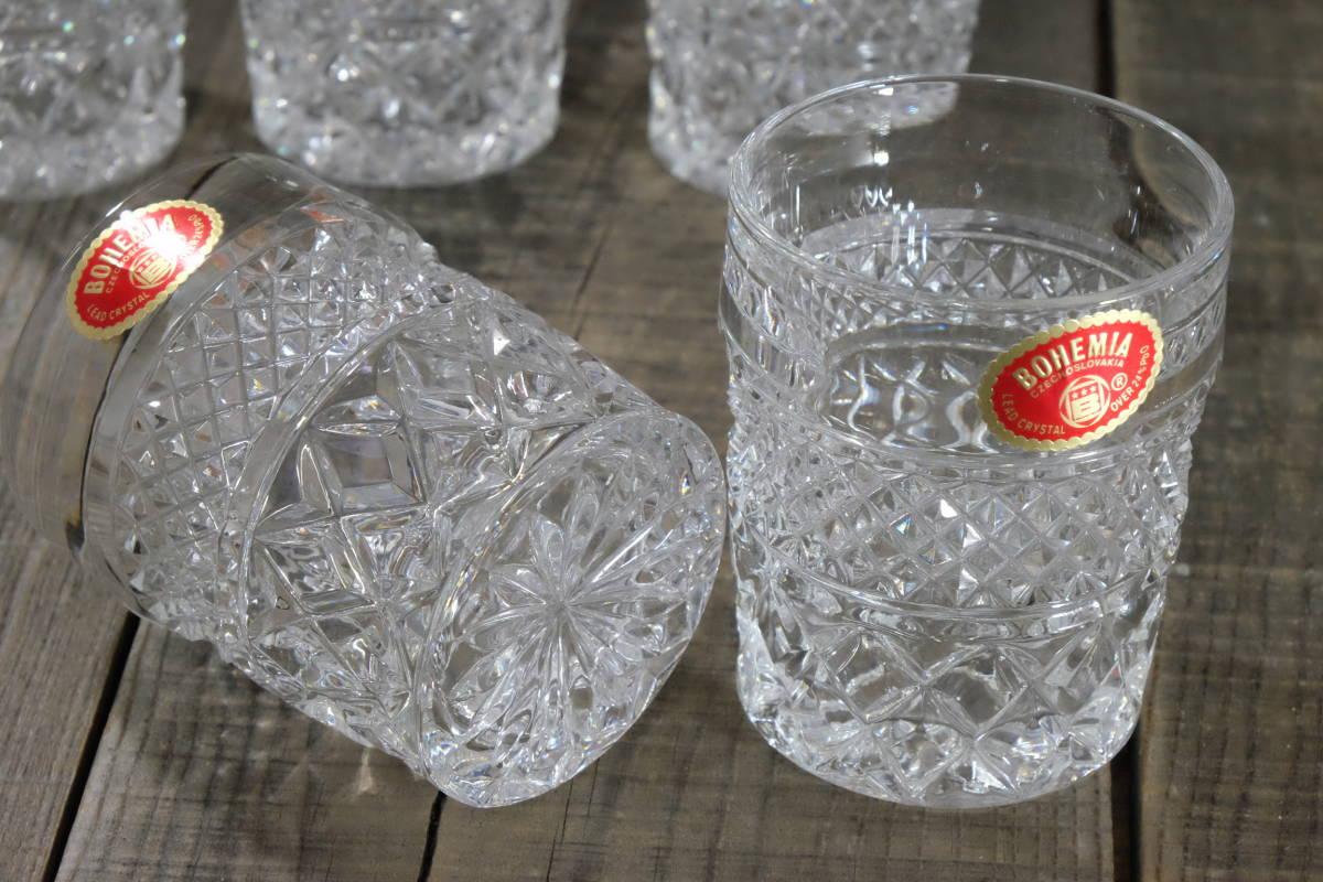 ボヘミアクリスタル ロックグラス 5客 未使用箱入  オールドファッショングラス タンブラー ウイスキー 水割り _画像6