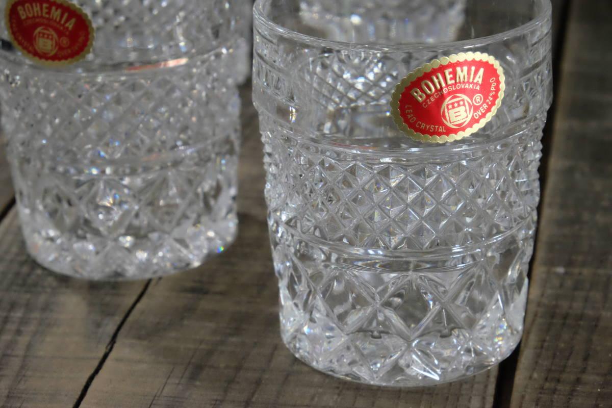 ボヘミアクリスタル ロックグラス 5客 未使用箱入  オールドファッショングラス タンブラー ウイスキー 水割り _画像4