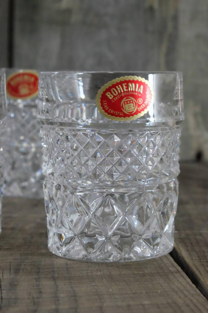 ボヘミアクリスタル ロックグラス 5客 未使用箱入  オールドファッショングラス タンブラー ウイスキー 水割り _画像3