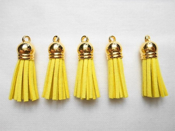 ★519★金色キャップ.タッセルチャーム.黄色.5本