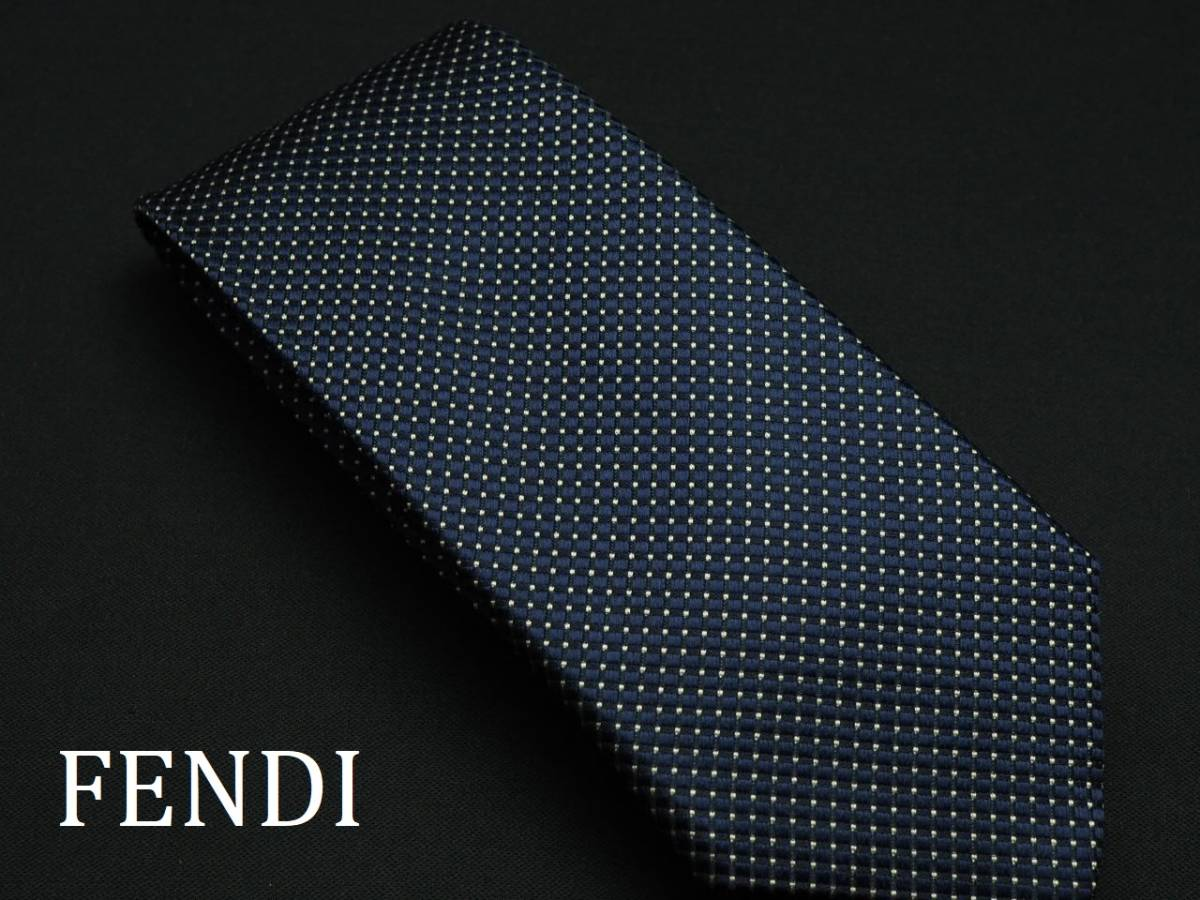 美品 FENDI フェンディ ITALY イタリア製 【ネイビー ホワイト ドット シンプル】ネクタイ USED オールド ブランド シルク
