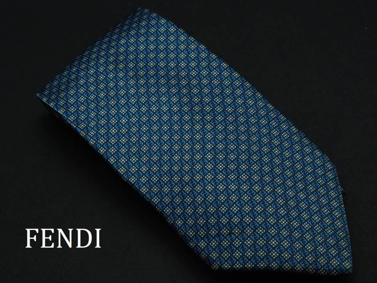 美品 FENDI フェンディ ITALY イタリア製 【ネイビー 水色 FFロゴ】ネクタイ USED オールド ブランド シルク