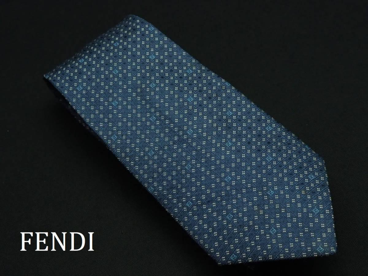 美品 FENDI フェンディ ITALY イタリア製 【ネイビー FFロゴ 水色 シンプル】ネクタイ USED オールド ブランド シルク
