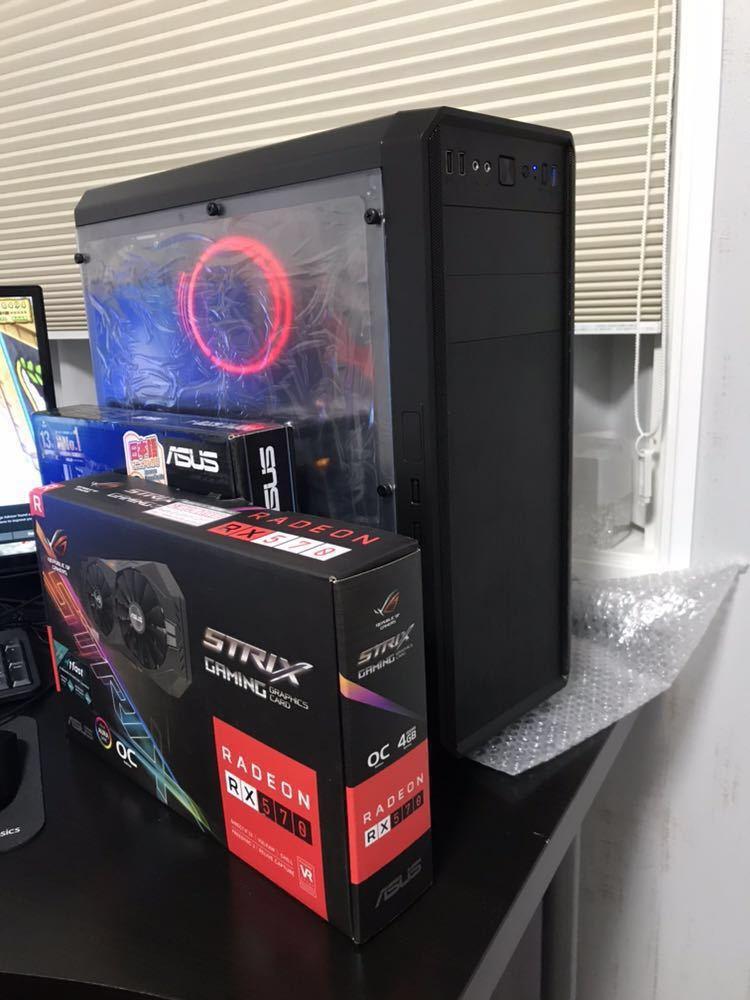 i3 8100 H370 ASUS RX570 STRIX 新品ケース ゲーミングPC Windows10 自作PC スリーブケーブル付