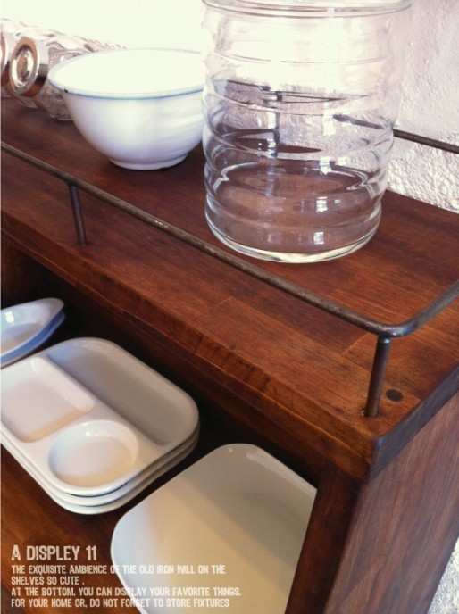 数量限定 CBS-80 シェルフ 棚 アイアン ディスプレイ キッチン カップボード 家具 収納 本棚 食器棚 花台 フラワースタンド_画像4