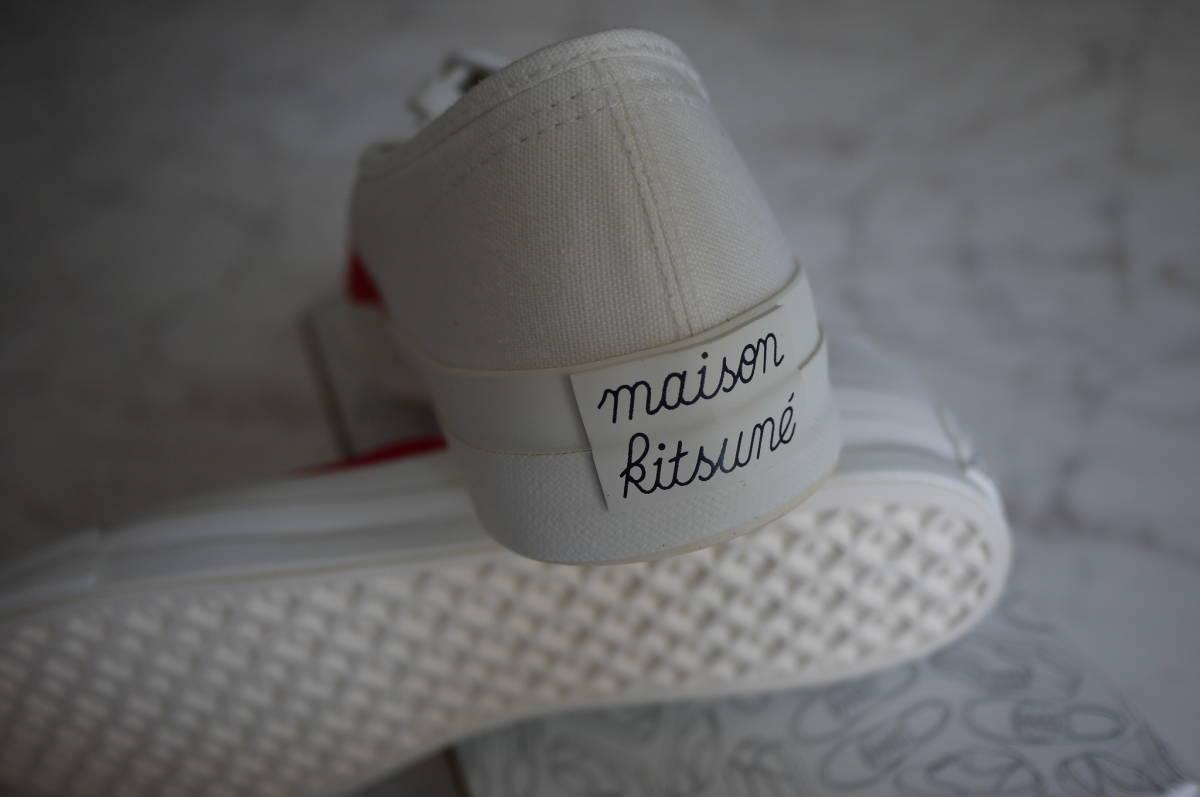 新品 未使用品 正規品 MAISON KITSUNE メゾンキツネ キャンバススニーカー レッドホワイト 赤白 43/27.5cm 定価16,000円+税 (い)_画像4
