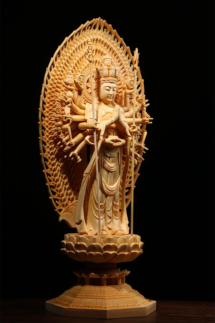 極上質 貴重供養品 仏教美術 黄楊木精密細工 千手観音菩薩像 大師彫刻 高さ42cm 厚14.5cm 幅18.5cm _画像4