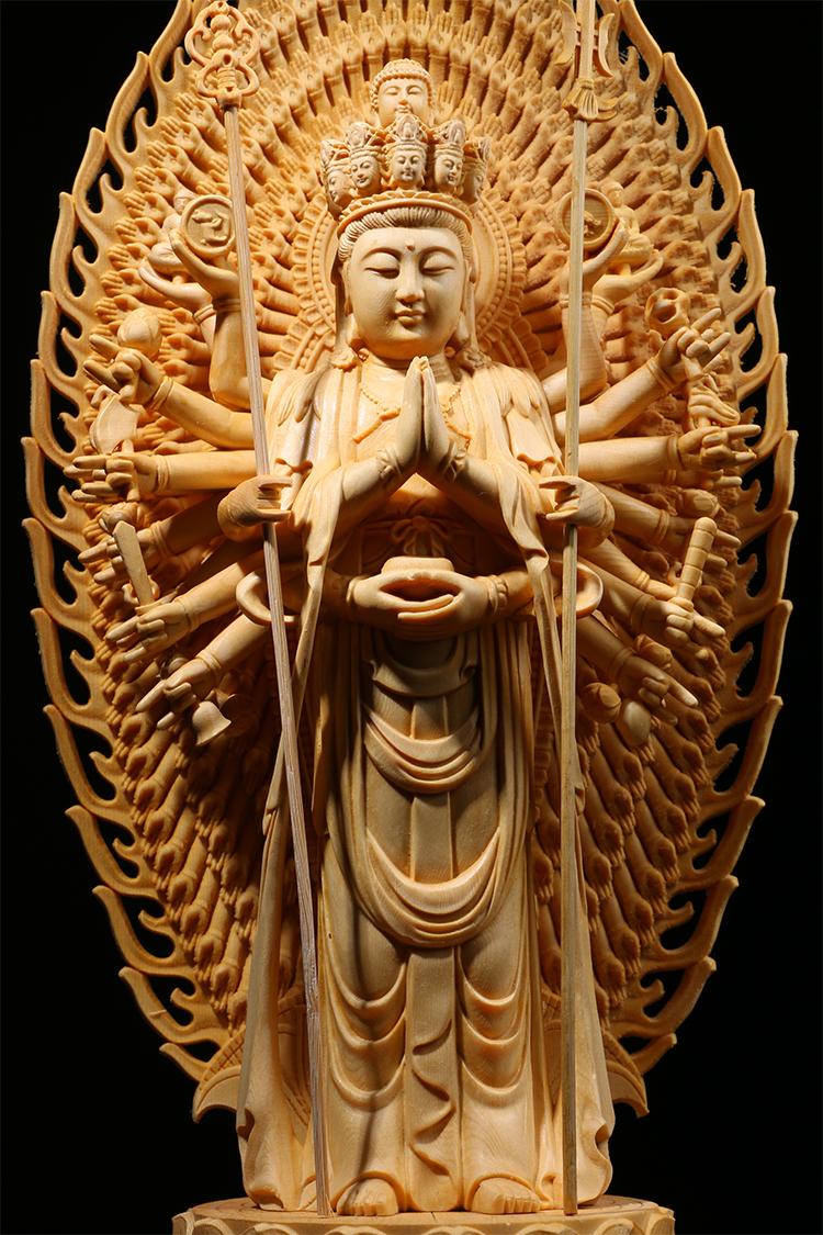 極上質 貴重供養品 仏教美術 黄楊木精密細工 千手観音菩薩像 大師彫刻 高さ42cm 厚14.5cm 幅18.5cm _画像8