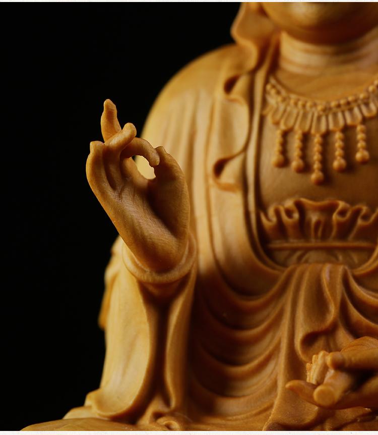 極上質 貴重供養品 仏教美術 黄楊木精密細工 観音菩薩像 大師彫刻 高さ10cm 厚6cm 幅6cm _画像6