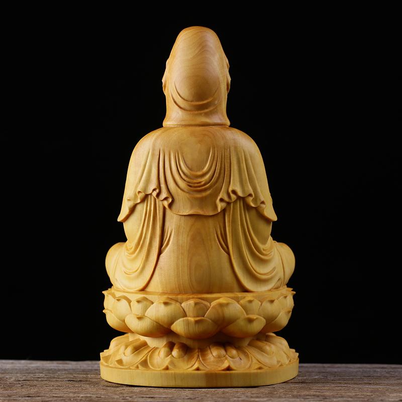 極上質 貴重供養品 仏教美術 黄楊木精密細工 観音菩薩像 大師彫刻 高さ10cm 厚6cm 幅6cm _画像4