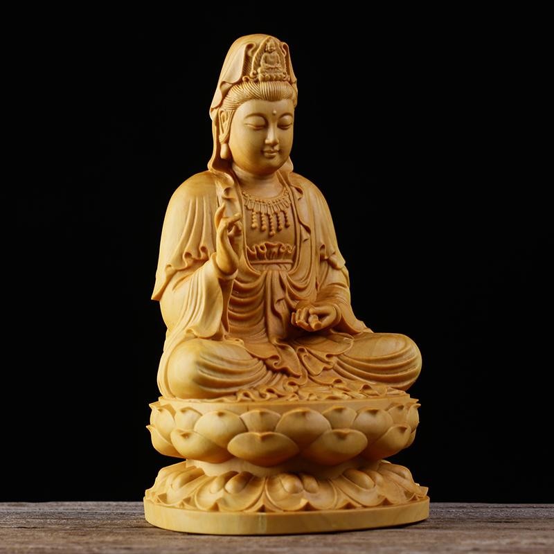 極上質 貴重供養品 仏教美術 黄楊木精密細工 観音菩薩像 大師彫刻 高さ10cm 厚6cm 幅6cm _画像7
