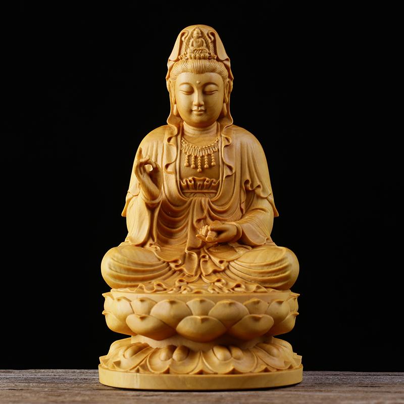 極上質 貴重供養品 仏教美術 黄楊木精密細工 観音菩薩像 大師彫刻 高さ10cm 厚6cm 幅6cm
