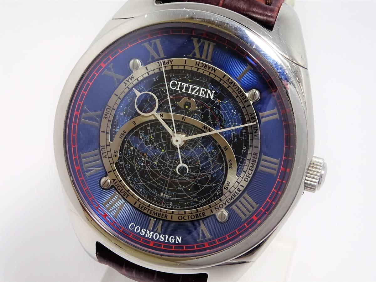 W6913 シチズン カンパノラ コスモサイン 4391-H30881 星座位置早見 メンズ クォーツ ラウンド サファイアガラス 未使用ブレス 時計
