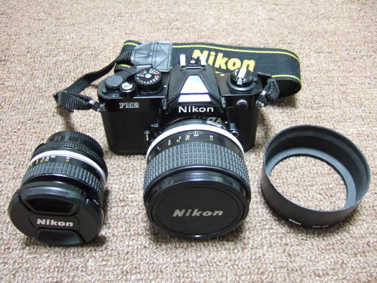 ニコン Nikon FM2ブラック + 85mm/F1.4 + 50mm/F1.4 中古品_画像1