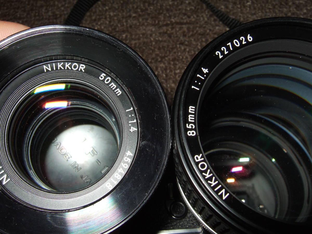 ニコン Nikon FM2ブラック + 85mm/F1.4 + 50mm/F1.4 中古品_画像7