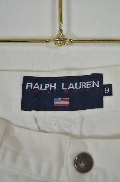 [B17] ラルフローレン RALPH LUREN POLO SPORT コットンパンツ バギーパンツ ボトムス 白 綿 SIZE9 カジュアル ロゴ *お洒落*シンプル◎*_画像8