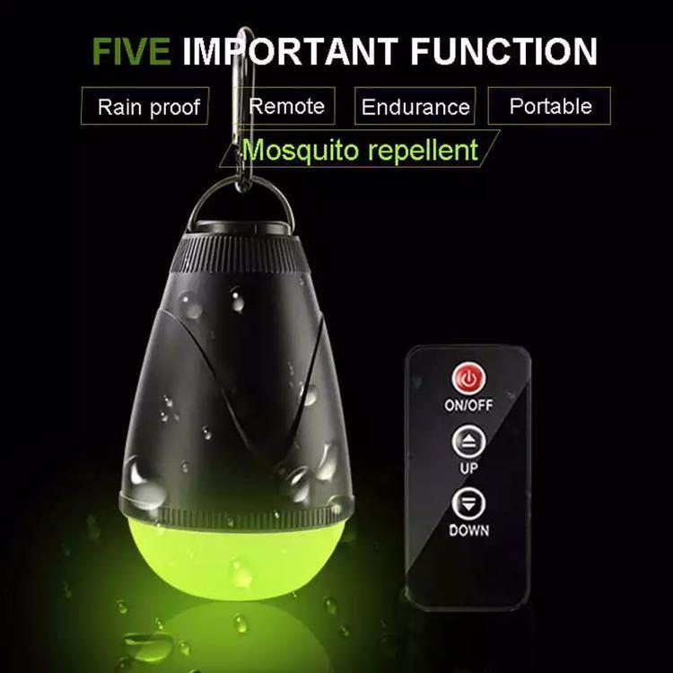 蚊忌避ライトリモートコントロールキャンプライト 18650 USB 充電式ポータブル緊急夜釣りテント電球_画像1