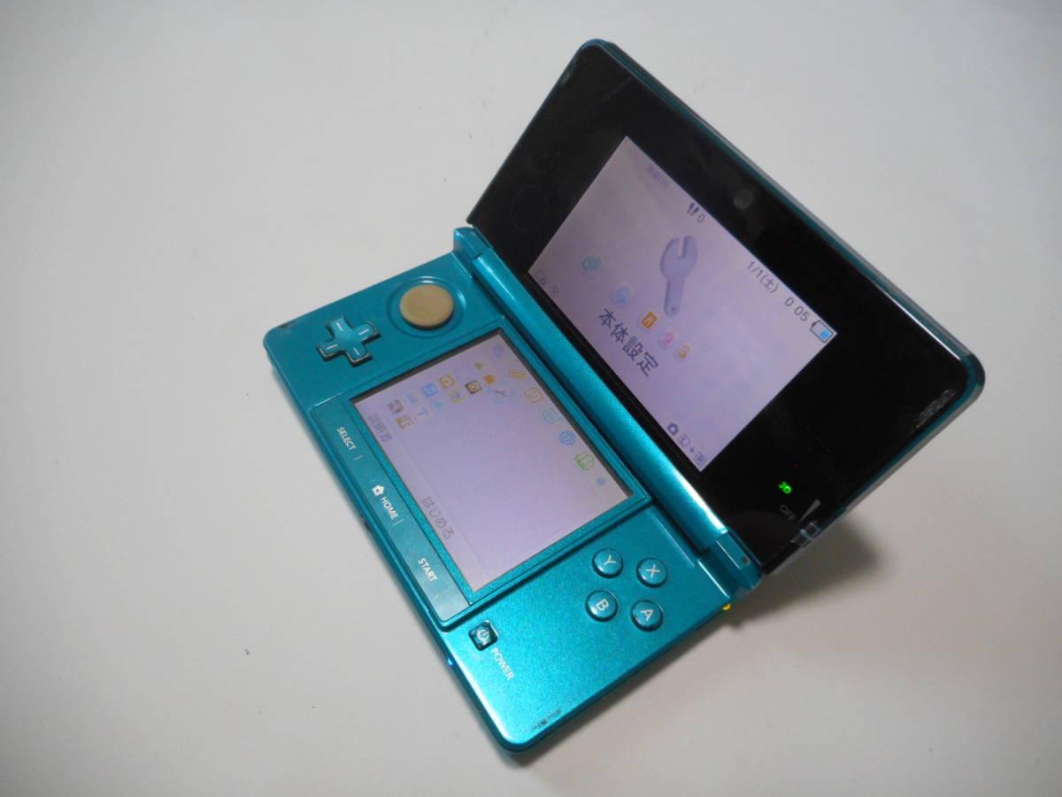 ⑩【送料無料】完動品3DS本体アクアブルーVer11.2.0-35J【動作確認済み1円スタート】