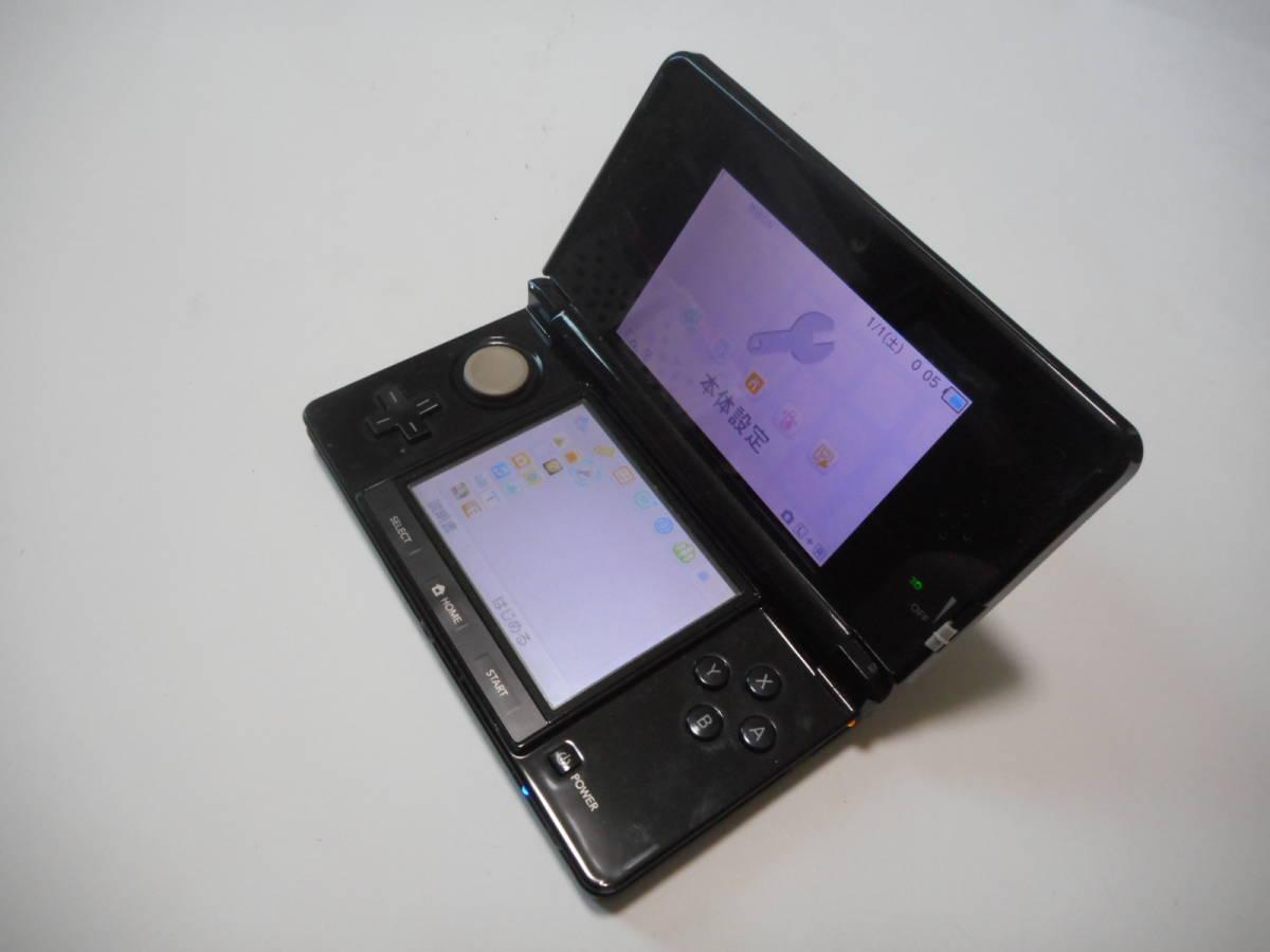 ⑪【送料無料】完動品3DS本体クリアブラックVer11.9.0-42J【動作確認済み1円スタート】