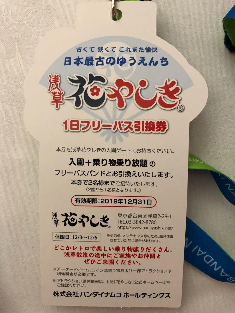 花やしき 1日フリーパス 2名 バンナム株主総会 優待 お土産