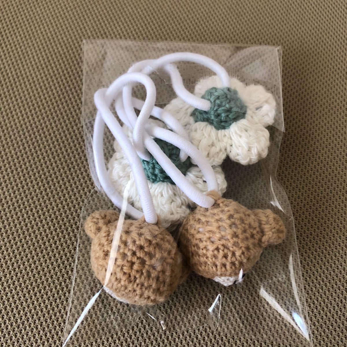 ハンドメイド 手編み くまちゃん お花 ヘアゴム 2個セット_画像3