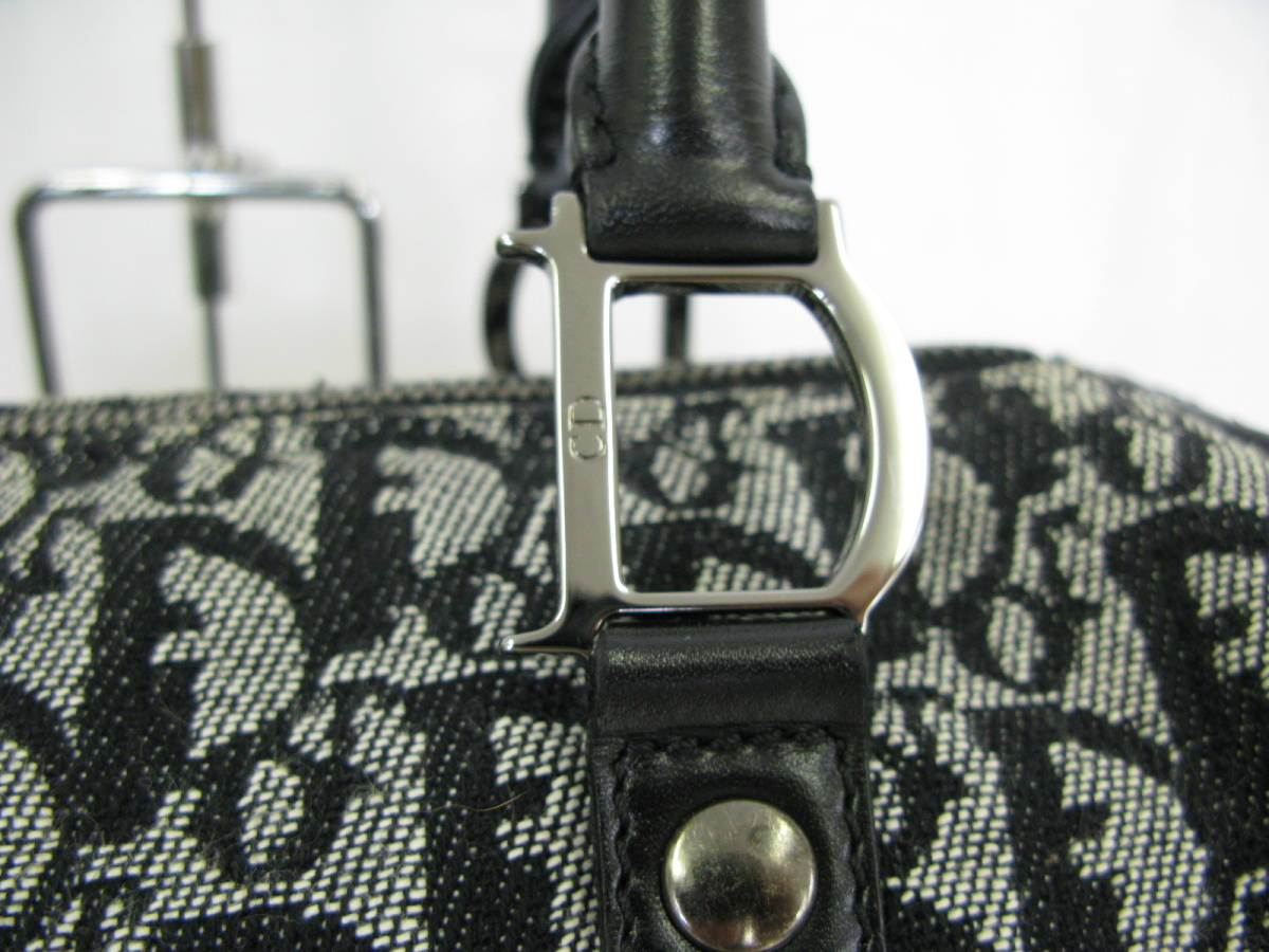 Dior ディオール トロッター ヴィンテージ キャンバス レザー ミニボストン ハンドバッグ 6:7JKL2.5_画像3