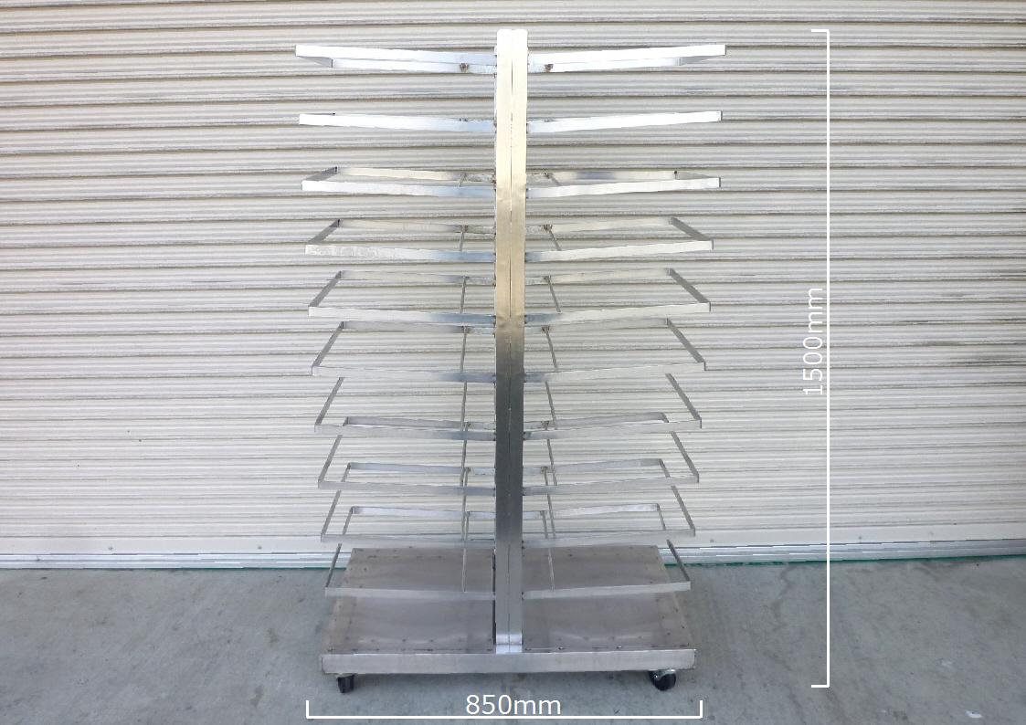 トンボラック 両面 ステンレス:SUS304 W500xD850xH1500 天板サイズ H100 10段 キャスター付 _画像1