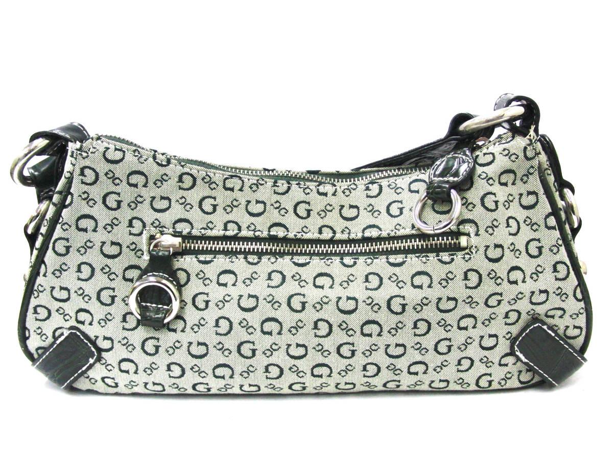 ゲス GUESS カーキ系カラー ロゴデザイン ハンドバッグ ショルダーバッグ シルバー金具_画像2