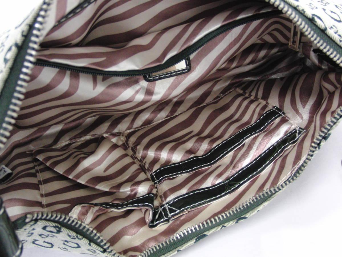 ゲス GUESS カーキ系カラー ロゴデザイン ハンドバッグ ショルダーバッグ シルバー金具_画像6