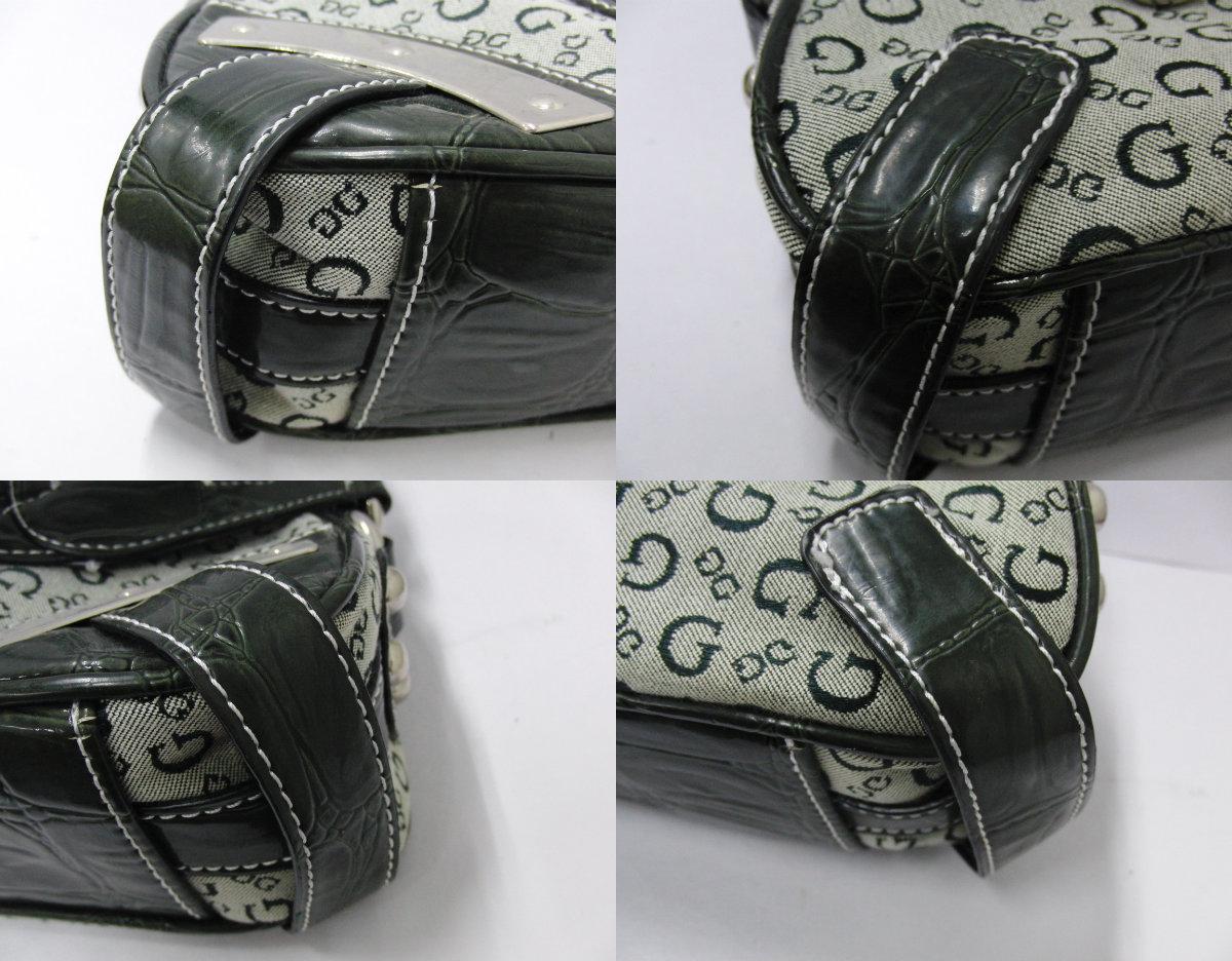 ゲス GUESS カーキ系カラー ロゴデザイン ハンドバッグ ショルダーバッグ シルバー金具_画像7