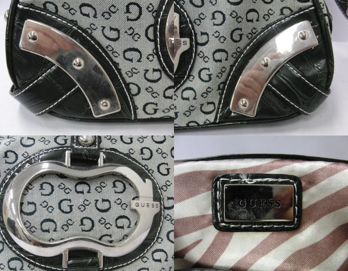 ゲス GUESS カーキ系カラー ロゴデザイン ハンドバッグ ショルダーバッグ シルバー金具_画像9