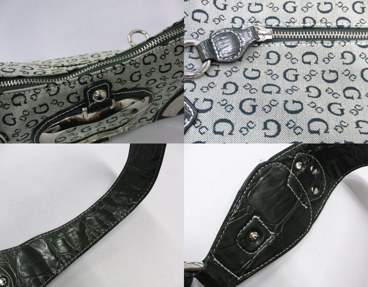 ゲス GUESS カーキ系カラー ロゴデザイン ハンドバッグ ショルダーバッグ シルバー金具_画像10