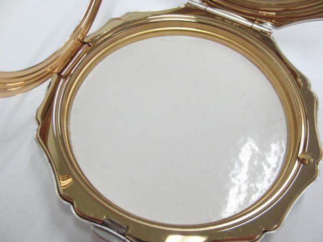 ストラットン Stratton コンパクト ミラー 手鏡 コスメ シルバー色 アラベスク模様_画像6