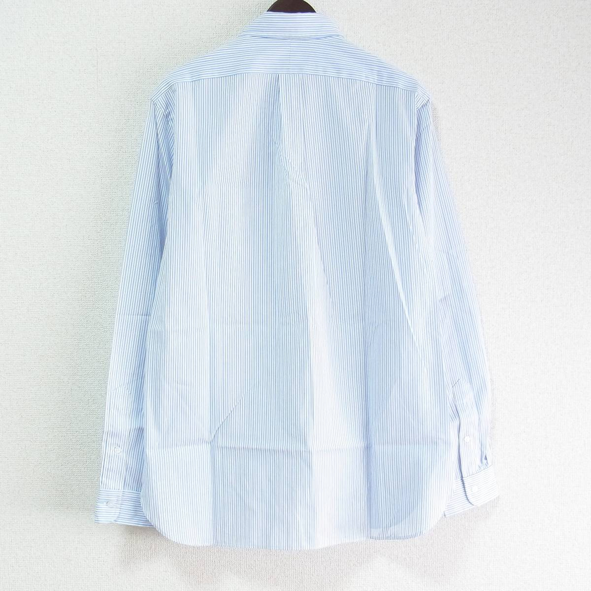 RALPH LAUREN ラルフローレン 長袖 ストライプ ボタンダウンシャツ 15-1/2(39) ライトブルー/ネイビー_画像2
