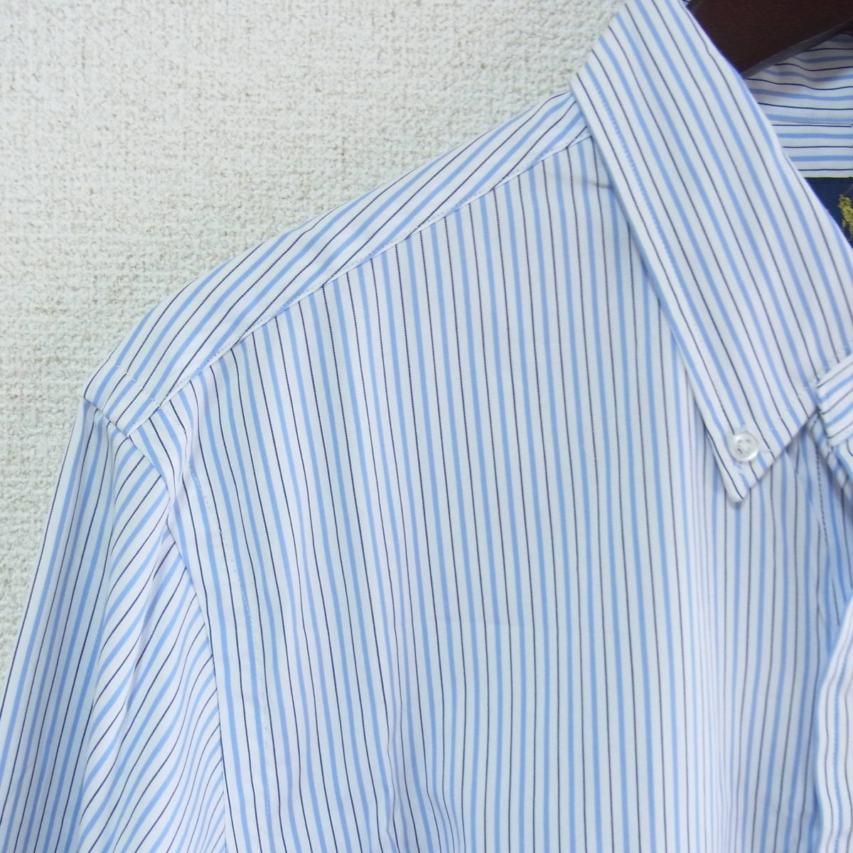RALPH LAUREN ラルフローレン 長袖 ストライプ ボタンダウンシャツ 15-1/2(39) ライトブルー/ネイビー_画像3