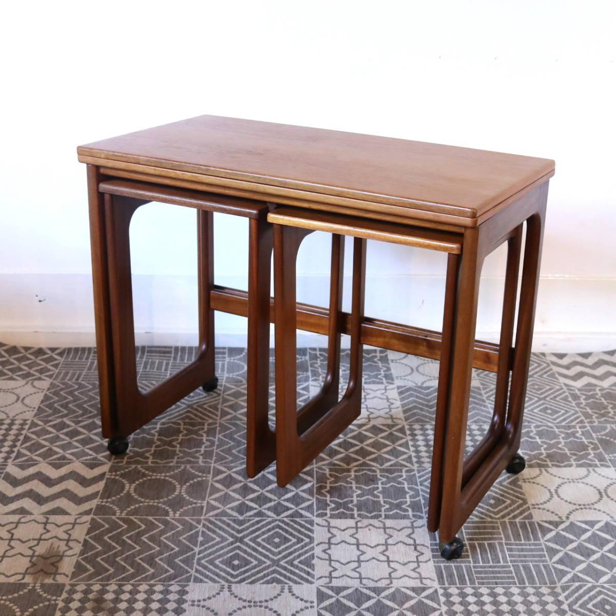 【天板剥離・再塗装メンテ済】イギリス McINTOSH社製 ビンテージ ネストテーブル/ERCOL G-PLAN アンティーク コーヒーテーブル 北欧