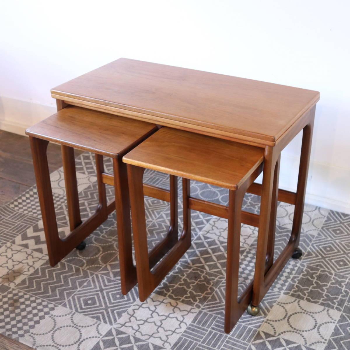 【天板剥離・再塗装メンテ済】イギリス McINTOSH社製 ビンテージ ネストテーブル/ERCOL G-PLAN アンティーク コーヒーテーブル 北欧_画像4