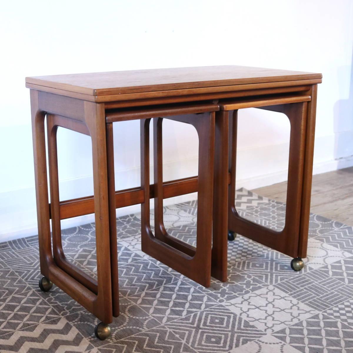 【天板剥離・再塗装メンテ済】イギリス McINTOSH社製 ビンテージ ネストテーブル/ERCOL G-PLAN アンティーク コーヒーテーブル 北欧_画像2
