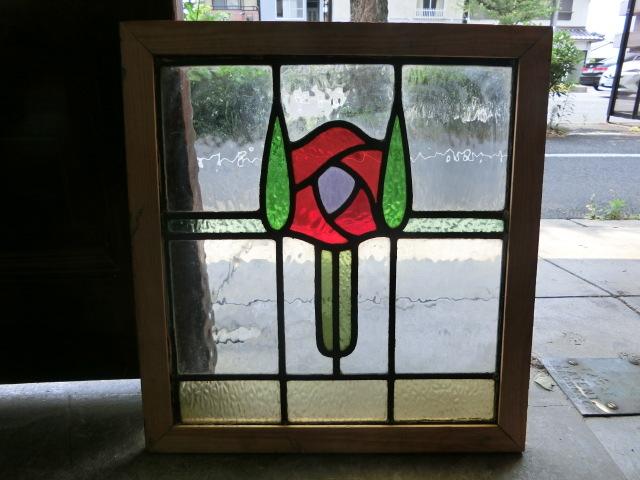 ステンドグラス 英国アンティーク 12S-192 バラ柄 送料無料 ガラス窓 イギリスインテリア ドア 窓 サッシ