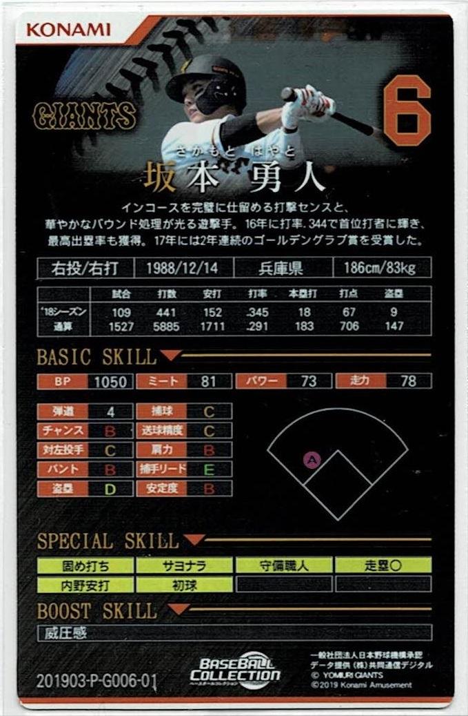 ベースボールコレクション2019 プレミアム パラレル 坂本勇人(読売ジャイアンツ)_画像2