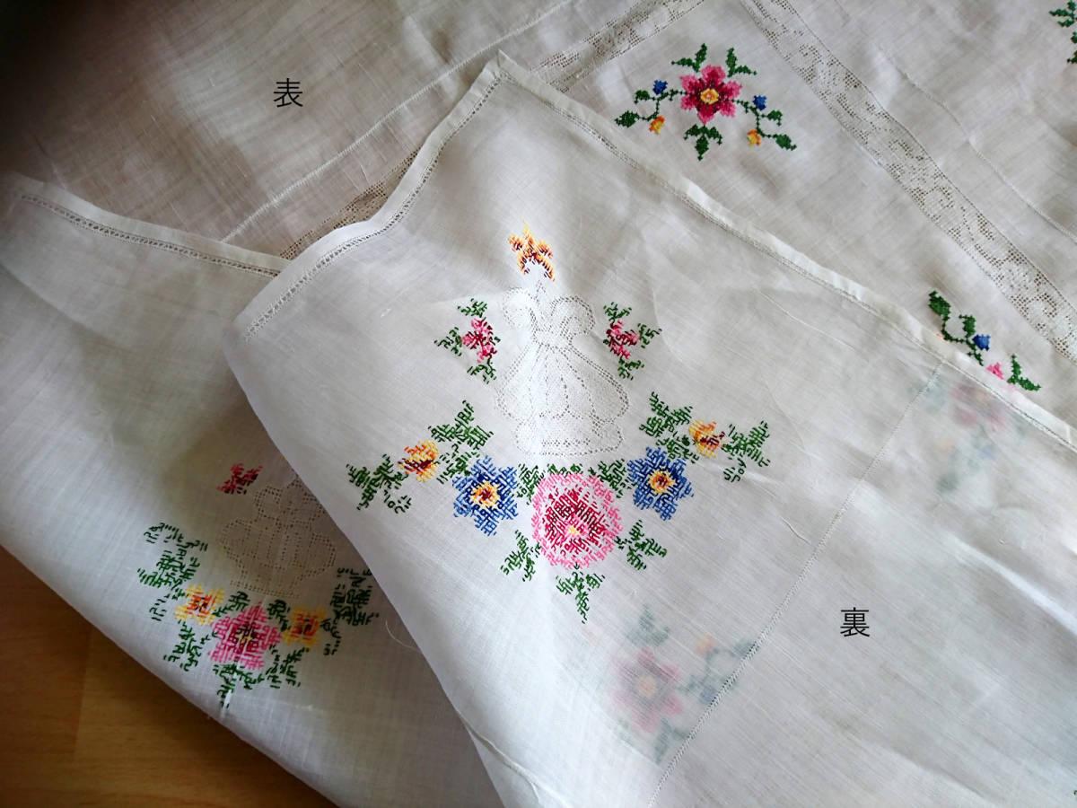 スウェーデンヴィンテージ5 大判刺繍テーブルクロス 美品 クロスステッチ+ドロンワーク_画像10