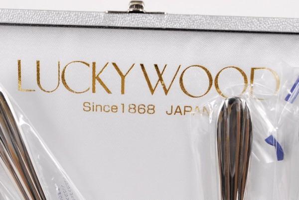 9746 未使用 ラッキーウッド 25点セット オリジナルステンレス18-8 カトラリーセット LUCKY WOOD _画像2