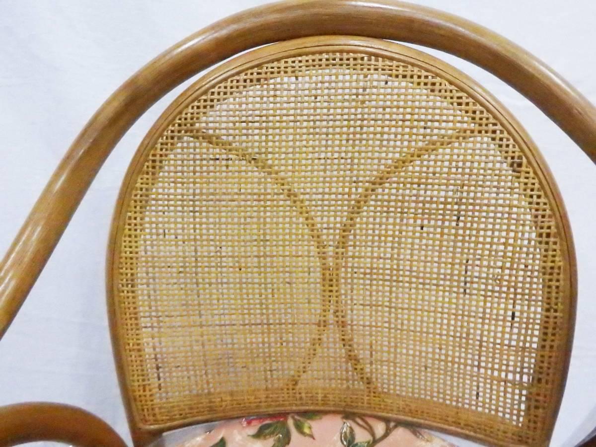 【現品処分特価】ラタンチェアー 肘付籐座椅子 回転チェアー 座面高30cm_画像4