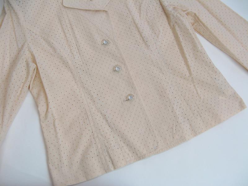 クレージュ courreges 透かし生地七分袖テーラージャケット(11R)サーモンベージュ 上品 大人カジュアル_画像4
