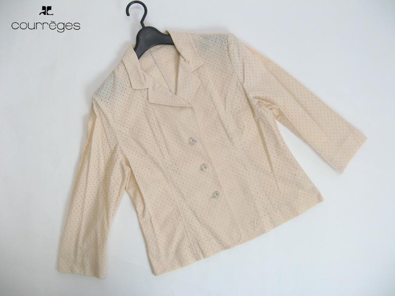 クレージュ courreges 透かし生地七分袖テーラージャケット(11R)サーモンベージュ 上品 大人カジュアル_画像1