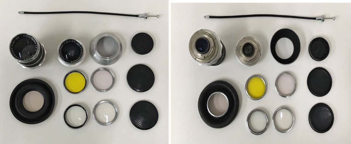 西ドイツ製 カメラ+レンズ3つセット【Voigtlander BESSAMATIC・Skopar X 1:2.8/50・Super-Dynarex 1:4/135など】箱有/A5730_画像8