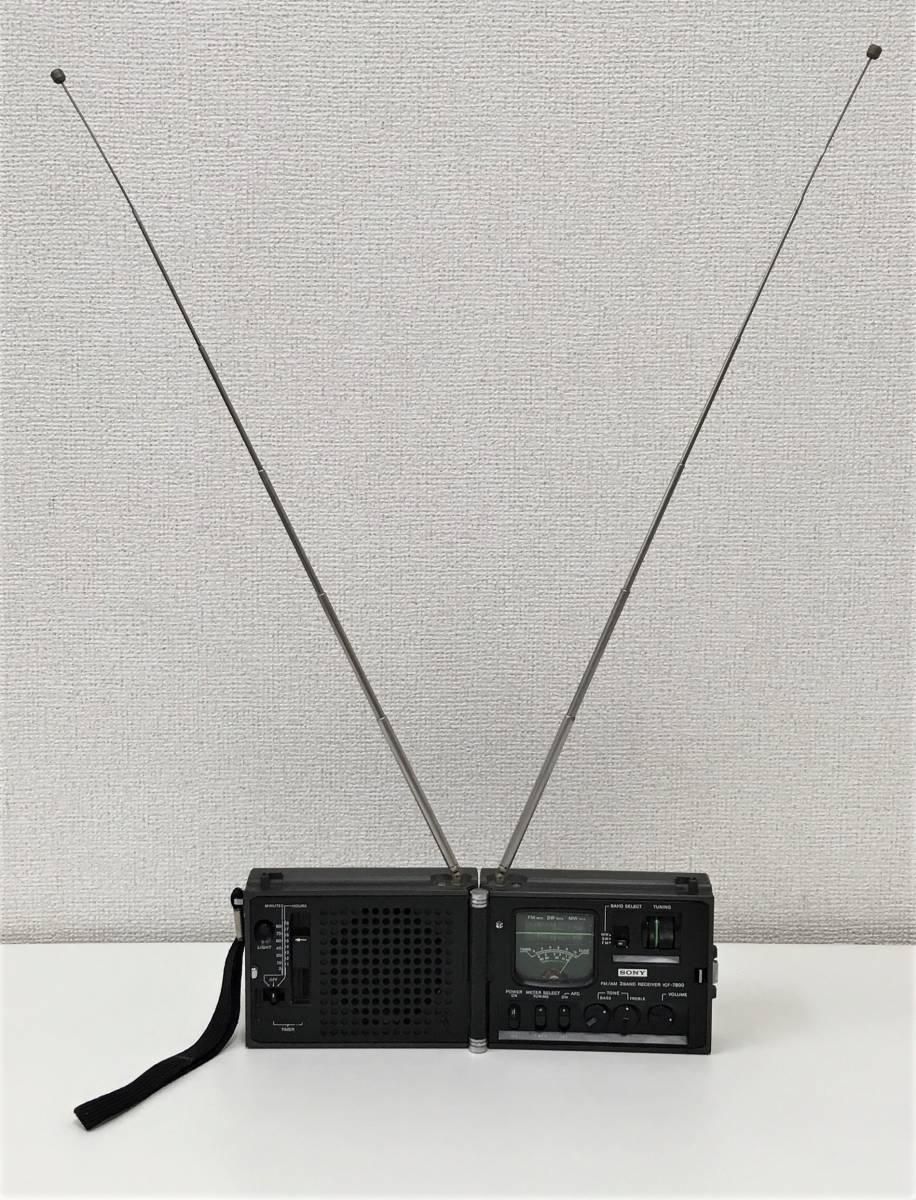 昭和レトロ 【SONY「ICF-7800」ポータブルラジオ】FM/AM/SW/MW 折りたたみ/ニュースキャスター/ジャンク/A5833_画像2