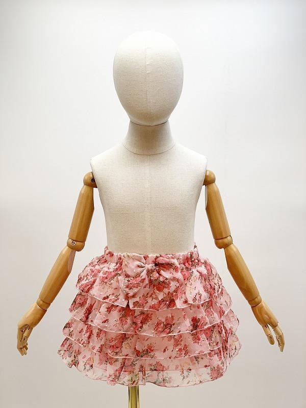子供用花柄シフォン4段フリルスカート サイズF(110-120cm相当) カラー:ピンク1 裏地付き ウエストゴム調節可 キッズ 女の子 ガールズ_画像1