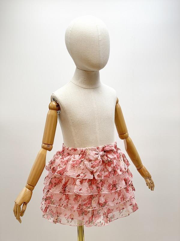 子供用花柄シフォン4段フリルスカート サイズF(110-120cm相当) カラー:ピンク1 裏地付き ウエストゴム調節可 キッズ 女の子 ガールズ_画像2