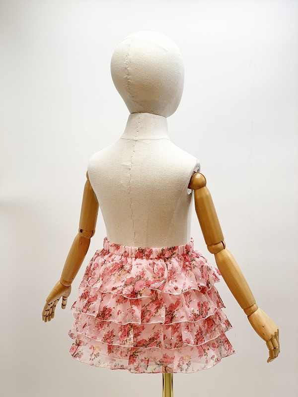 子供用花柄シフォン4段フリルスカート サイズF(110-120cm相当) カラー:ピンク1 裏地付き ウエストゴム調節可 キッズ 女の子 ガールズ_画像3